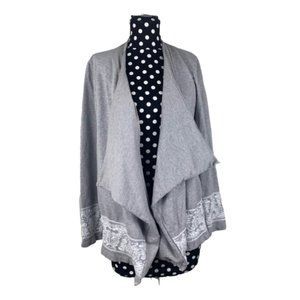 Chelsea & Theodore White Lace Gray Cardigan Flowy